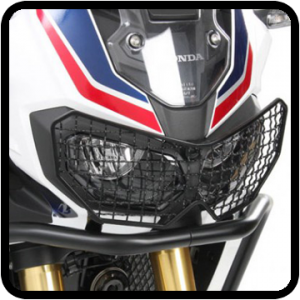 Africa Twin Adventure Sports headlight shields and protection.